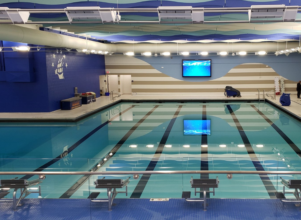 View of the newly renovated natatorium from the bleachers.