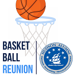 "Graphic of basketball being shot into a basketball hoop. Text overlay saying, ""Basketball Reunion,"" including Alumni logo."