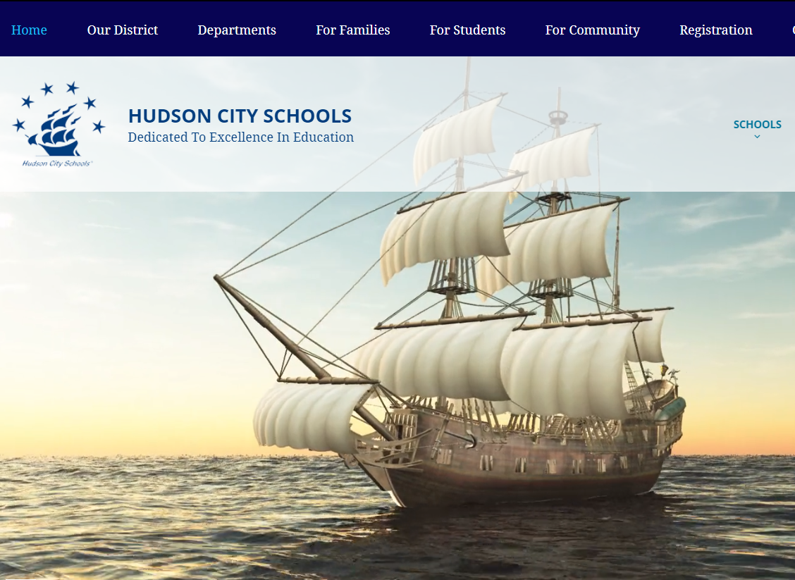Screen capture of the Hudson City School District's new website homepage.