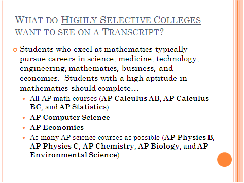 Highly Selective College Transcript