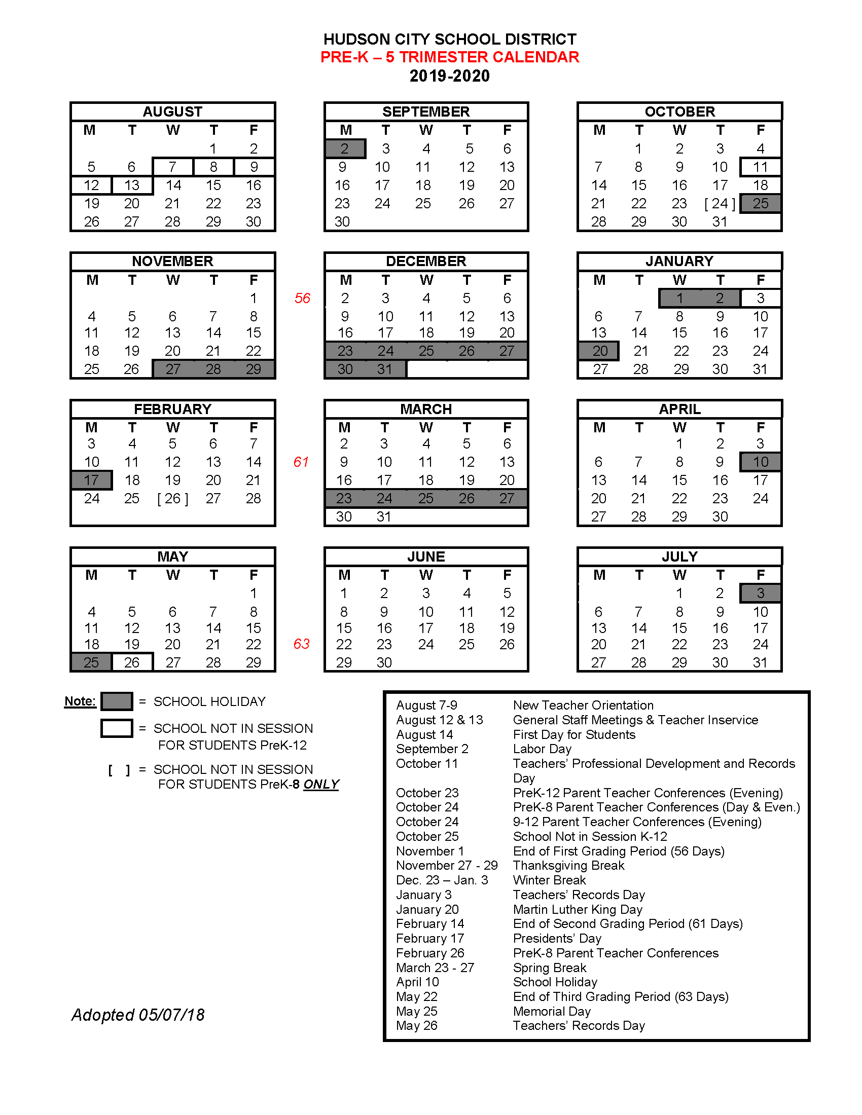 19-20 Trimester Calendar for Prek-5